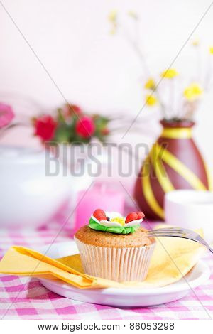 Continental Colorful  Breakfast On A Pink Background