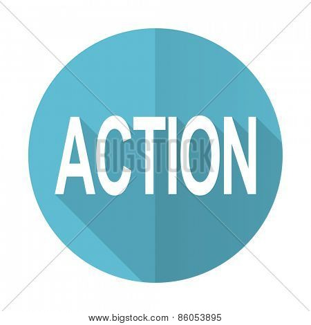 action blue flat icon
