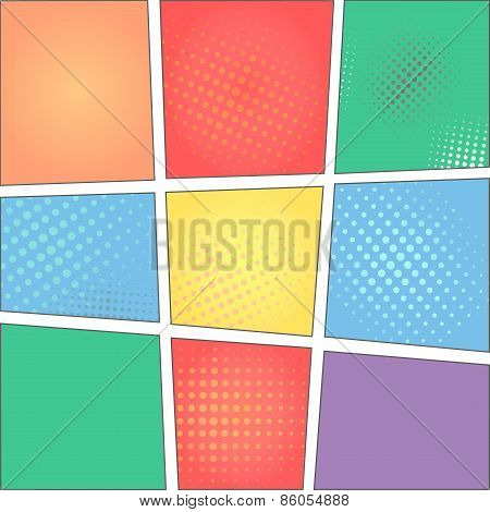 Vector colorful template of comic book page with rays, stars, dots, halftone background