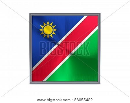 Square Metal Button With Flag Of Namibia
