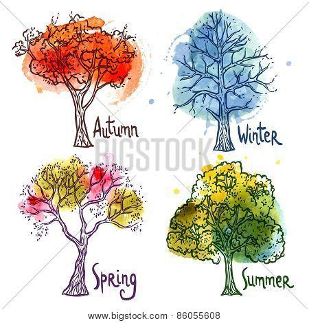 Watercolor Tree Set