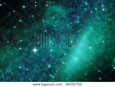 Night sky with stars and nebula.