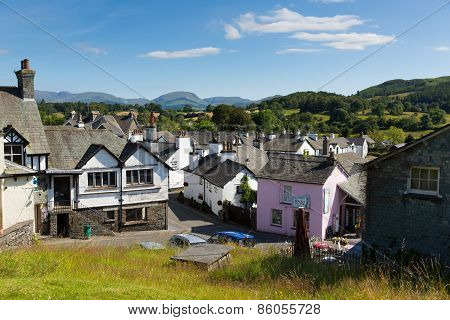 Hawkshead village shops in the English Lake District England uk on a beautiful sunny summer day