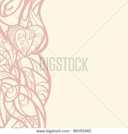 Multicolored Hand Drawn Floral Card.