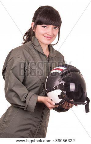 beautiful young female pilot holding helmet