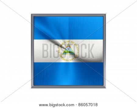 Square Metal Button With Flag Of Nicaragua