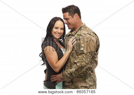 Happy Young Couple Against White Background