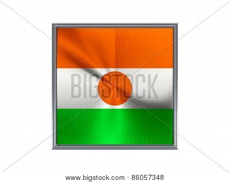 Square Metal Button With Flag Of Niger