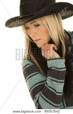 Cowgirl In Blue And Black Poncho Black Hat Close Look Down