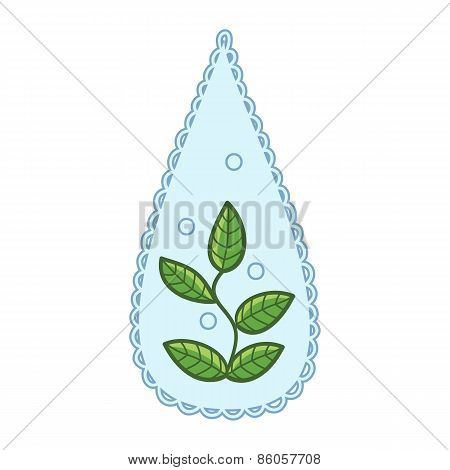 Water drop with leaves within.
