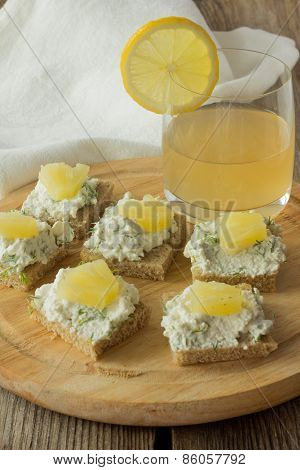 Farmer Cheese Sandwiches With Pineapple And Juice On Wooden Plate