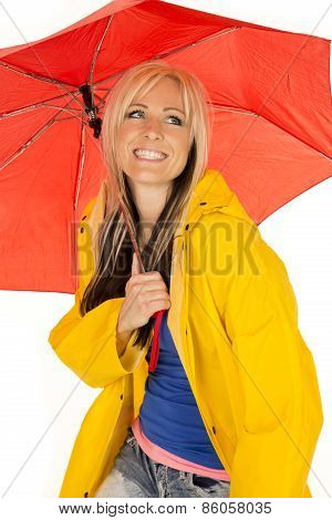 Woman In Yellow Rain Coat Under Red Umbrella Happy