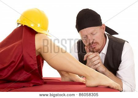 Woman Legs With Red Sheet Knees With Construction Hat