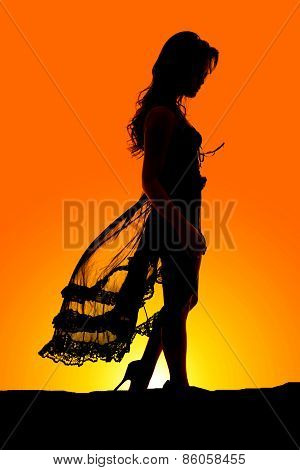 Silhouette Of Woman In Black Lingerie Standing Hands Down