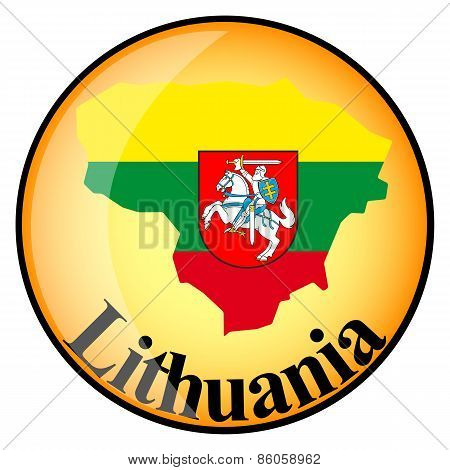 Orange Button With The Image Maps Of Lithuania