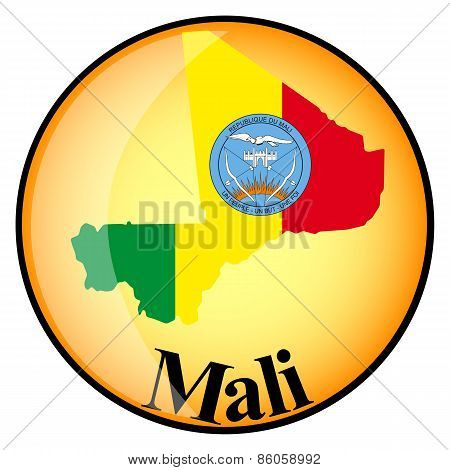 Orange Button With The Image Maps Of Mali