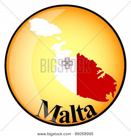 Orange Button With The Image Maps Of Malta