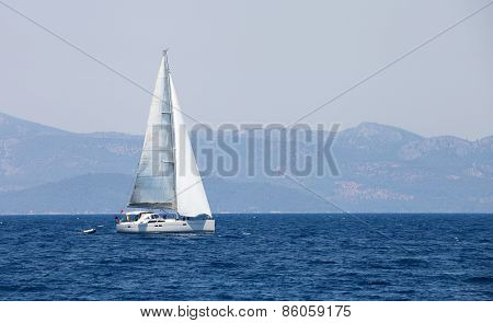 People In Sailboat Tour In Aegean Sea.