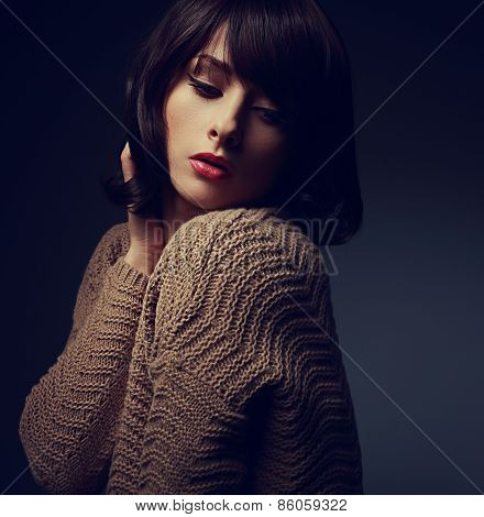 Beautiful Woman With Short Hair In Warm Cardigan. Art Closeup