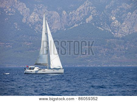 Sailboat In Aegean Sea.