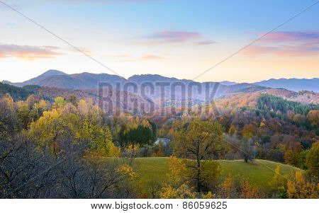Beautiful Autumn Landscape And Colorful Mountains