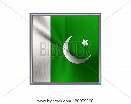 Square Metal Button With Flag Of Pakistan