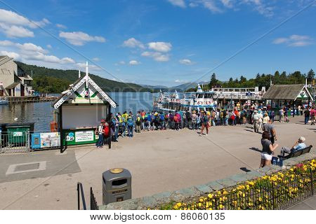 Bowness on Windermere Lake District England UK tourists enjoying tourist attractions