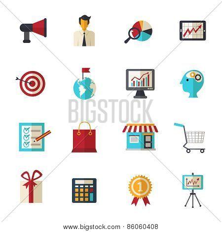 Marketing Flat Icons Set