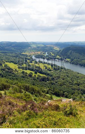 Elevated view of Windermere Lake District England uk from Gummers How in summer