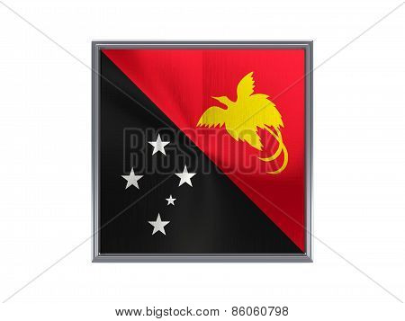 Square Metal Button With Flag Of Papua New Guinea