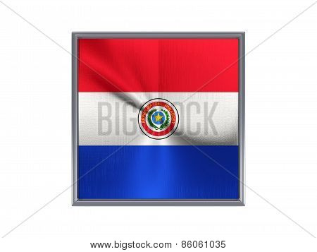 Square Metal Button With Flag Of Paraguay