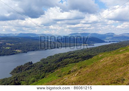 Lake District mountains and Windermere Lake District England uk from Gummers How