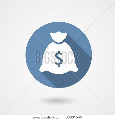 Money bag blue icon