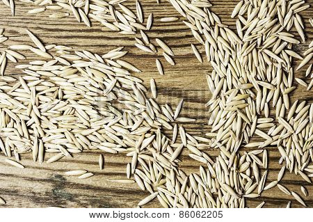 Natural of oat grains on a wood in horizontal format
