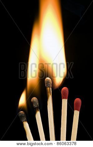 Matches Burning Networking Concept