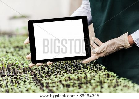 Biotechnology woman engineer with tablet