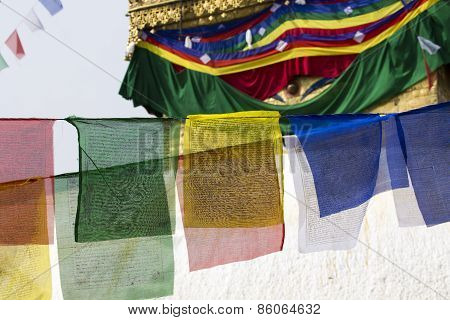 Prayer Flags Flying In The Wind