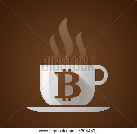 Coffee Cup With A Bitcoin Sign