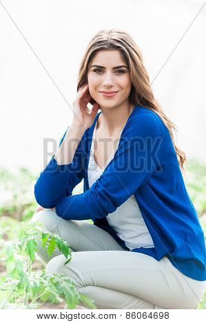 Portrait of woman gardening