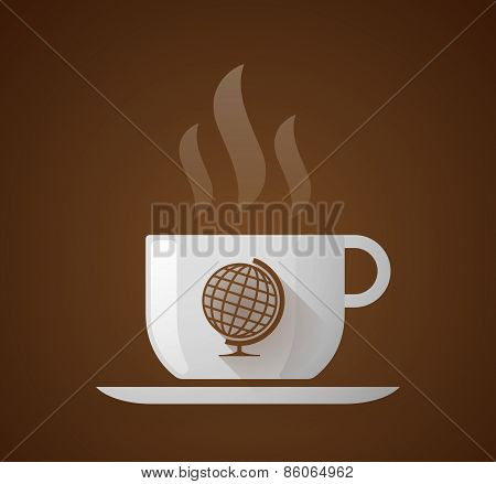 Coffee Cup With A World Globe