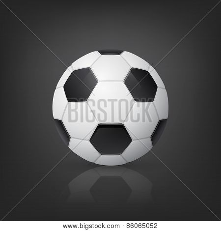 Traditional Style Soccer Ball On Black Background. Vector Illustration.