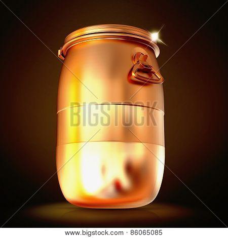 Golden Plastic Barrel  On A Black Background.