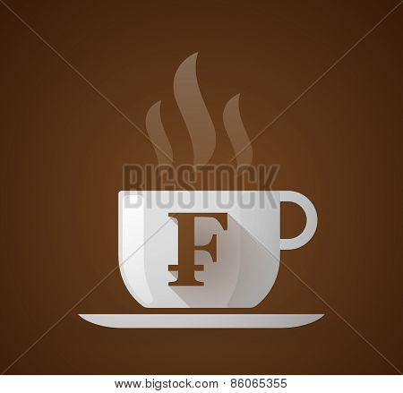 Coffee Cup With A Swiss Frank Sign