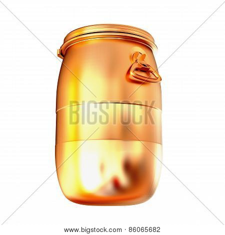 Golden Barrel Isolated On A White Background.