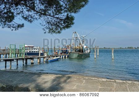 Pontoon and gruise ship anchored in the Venetian lagoon