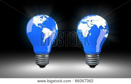 Lighting Bulbs with world map.