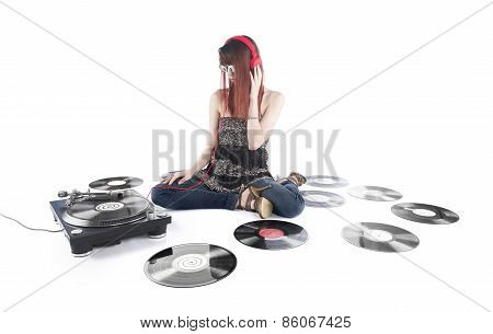 Sitting Woman with Vinyl Turntable and Records