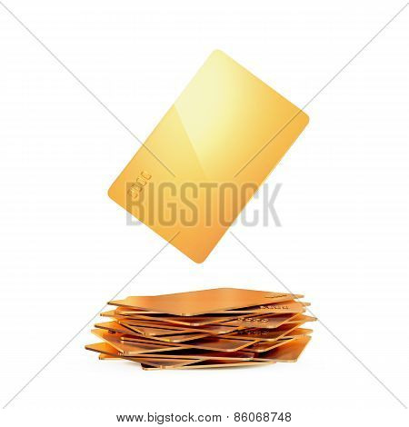 Golden business Card On White Background