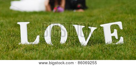 Wedding Couple Unfocused And Love Word On The Grass