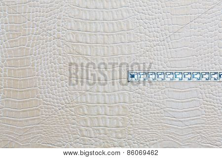 Crocodile Skin White Leather Background With Jewels